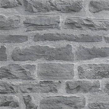 Vliesové tapety na zeď IMPOL Wood and Stone 2 cihlová stěna šedo-černá