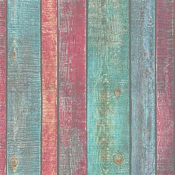 Vliesové tapety na zeď IMPOL Wood and Stone 2 desky červeno-zeleno-modré