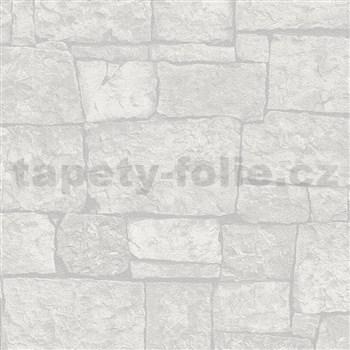 Vliesové tapety na zeď IMPOL Wood and Stone 2 kamenný obklad světle šedý
