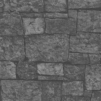 Vliesové tapety na zeď IMPOL Wood and Stone 2 kamenný obklad šedo-černý