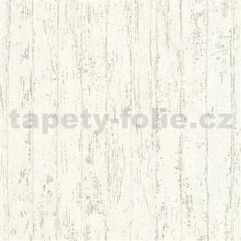 Vliesové tapety IMPOL Wood and Stone 2 úzký dřevěný obklad s krémově bílou patinou