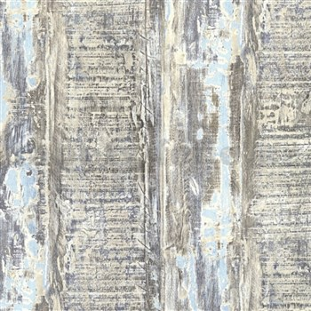 Vliesové tapety IMPOL Wood and Stone 2 hoblované desky s modrou patinou