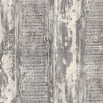 Vliesové tapety IMPOL Wood and Stone 2 hoblované desky s hnědou patinou