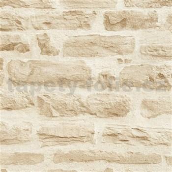 Vliesové tapety IMPOL Wood and Stone 2 ukládaný kámen béžový