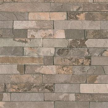 Vliesové tapety na zeď IMPOL Wood and Stone 2 obkladový kámen štípaná břidlice hnědá