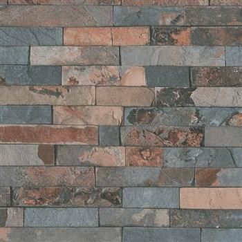 Vliesové tapety na zeď IMPOL Wood and Stone 2 obkladový kámen štípaná břidlice rezavo-šedá