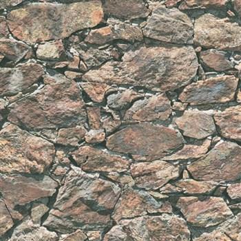 Vliesové tapety IMPOL Wood and Stone 2 ukládaný kámen hnědý