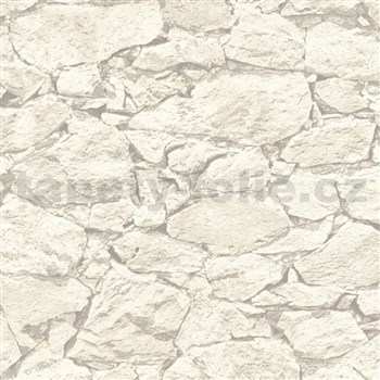 Vliesové tapety IMPOL Wood and Stone 2 ukládaný kámen bílo-šedý
