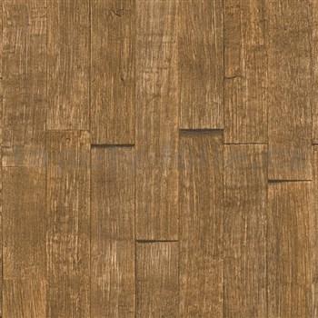 Vliesové tapety IMPOL Wood and Stone 2 3D dřevěný obklad hnědý