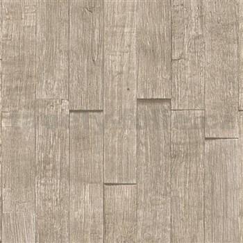 Vliesové tapety na zeď IMPOL Wood and Stone 2 3D dřevěný obklad světle hnědý