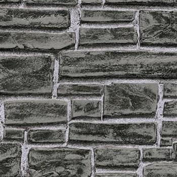 Vliesové tapety IMPOL Wood and Stone 2 cihla černo-šedá