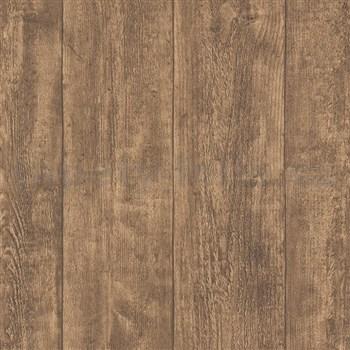 Vliesové tapety IMPOL Wood and Stone 2 dřevo hrubě hoblované tmavě hnědé