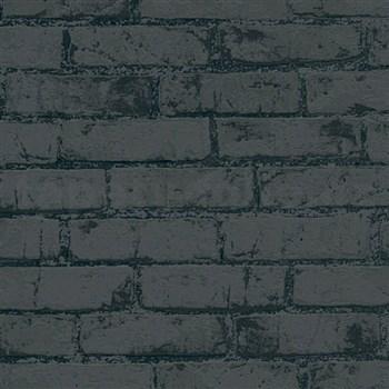 Vliesové tapety IMPOL Wood and Stone 2 cihly se strukturou černé