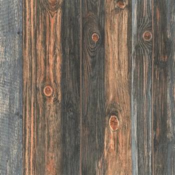 Vliesové tapety IMPOL Wood and Stone 2 dřevěné desky se suky hnědé
