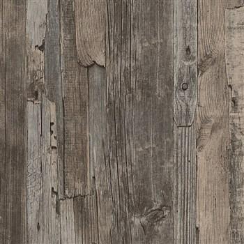 Vliesové tapety IMPOL Wood and Stone 2 dřevo vintage tmavě hnědé