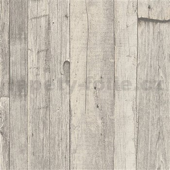 Vliesové tapety IMPOL Wood and Stone 2 vintage style dřevo šedo-béžové