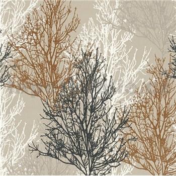 Vinylové tapety na zeď Adelaide stromky hnědé, černé, bílé na krémovém podkladu