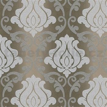 Vinylové tapety na zeď Adelaide ornamenty bílo-šedé na hnědém podkladu