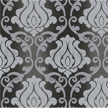 Vinylové tapety na zeď Adelaide ornamenty šedé na černém podkladu - POSLEDNÍ KUSY