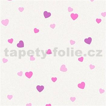 Vinylové tapety na zeď Adelaide srdíčka růžová na krémovém podkladu