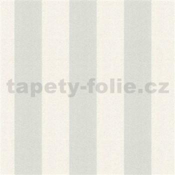 Vinylové tapety na zeď Adelaide pruhy šedo-bílé s třpytkami