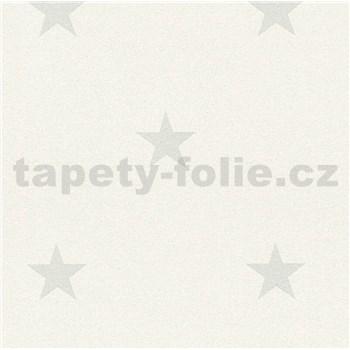 Vinylové tapety na zeď Adelaide hvězdičky šedé na bílém podkladu s třpytkami