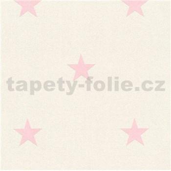 Vinylové tapety na zeď Adelaide hvězdičky růžové na bílém podkladu s třpytkami