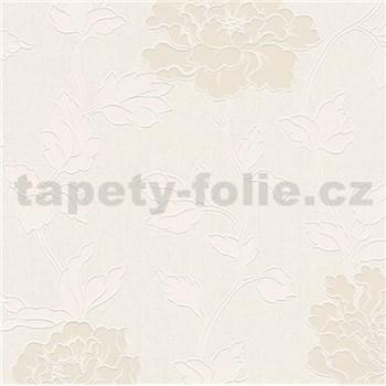 Vinylové tapety na zeď Adelaide květiny krémové s bílými lístky na bílém strukturovaném podkladu