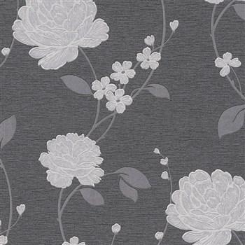 Vinylové tapety na zeď Adelaide květy stříbrné na černém podkladu