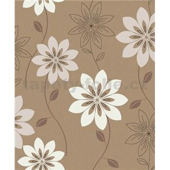 Vliesové tapety na zeď Allure velké květy světle hnědé na tmavě hnědém podkladu