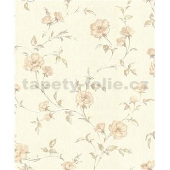 Vliesové tapety na zeď Allure květy růží béžové se třpytem
