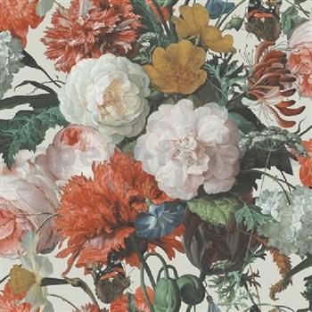 Papírové tapety na zeď velké květy na bílém podkladu