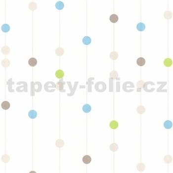 Vliesové tapety na zeď kuličky modré, hnědé, zelené