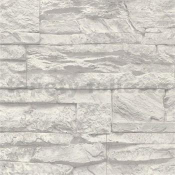 Vliesové tapety na zeď Wood´n Stone kámen šedo-bílý