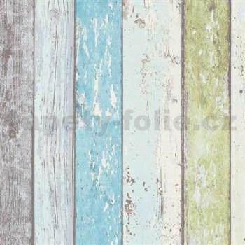 Vliesové tapety na zeď Wood´n Stone dřevěné desky modro-zelené