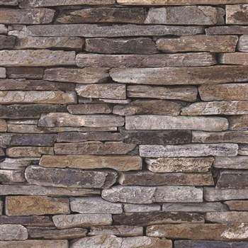 Vliesové tapety na zeď Wood´n Stone kámen břidlice šedo-hnědý