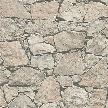 Vliesové tapety na zeď Wood´n Stone kámen štípaný světle hnědý
