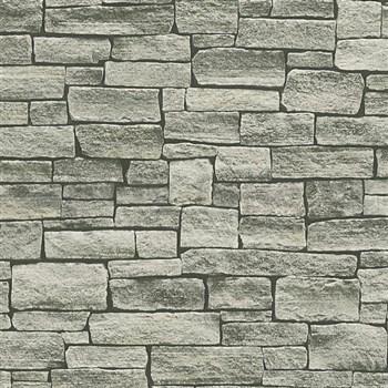 Vliesové tapety na zeď Wood´n Stone kámen skladaný hnědý