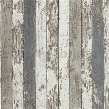 Vliesové tapety na zeď Wood´n Stone dřevěné latě hnědé, šedé, bílé