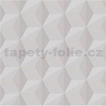 Vliesové tapety na zeď Esprit 3D abstrakt světlé hnědý se třpytem
