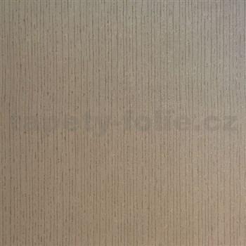 Vliesové tapety na zeď strukturovaná hnědá se třpytem stříbrným