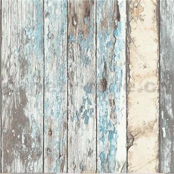 Vliesové tapety na zeď Exposed dřevěná prkna modré, béžové, šedé, bílé