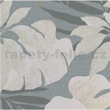 Luxusní vliesové tapety na zeď Avalon listy s květy hnědo-modré na modrém podkladu