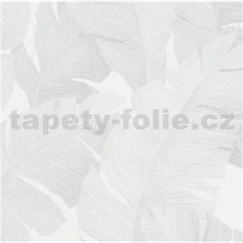 Luxusní vliesové tapety na zeď Avalon velké listy světle šedé na bílém podkladu