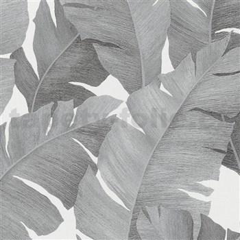 Luxusní vliesové tapety na zeď Avalon velké listy stříbrno-černé na bílém podkladu