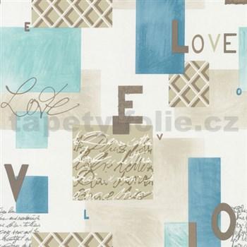 Papírové tapety na zeď Be You - Love modro-hnědá