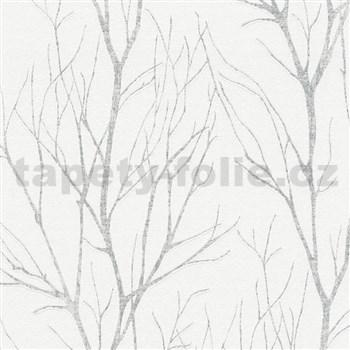 Vliesové tapety na zeď Blooming florální vzor stříbrný na bílém podkladu