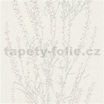 Vliesové tapety na zeď Blooming větvičky stříbrné s růžovými lístky