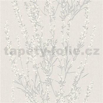 Vliesové tapety na zeď Blooming větvičky stříbrné s bílými lístky
