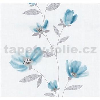 Vliesové tapety na zeď Blues květy modré